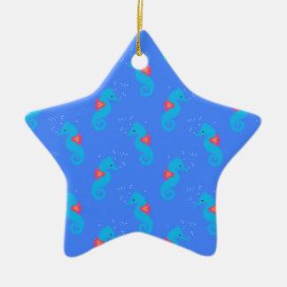 Motif bleu d'hippocampe ornement étoile en céramique