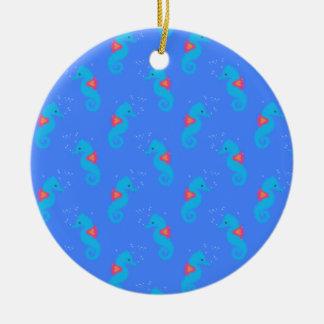 Motif bleu d'hippocampe ornement rond en céramique