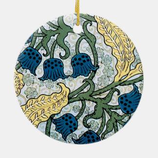 Motif bleu du muguet ornement rond en céramique