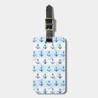 Motif bleu en pastel d'ancre étiquette pour bagages