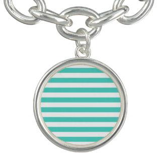 Motif bleu et blanc turquoise de rayure bracelet avec breloques