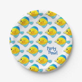 Motif bleu et jaune d'aquarelle adorable de assiettes en papier