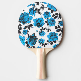 Motif bleu et noir rustique de rose de tige raquette de ping pong