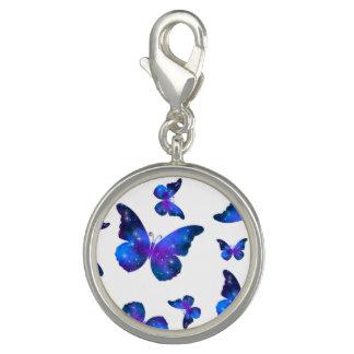 Motif bleu-foncé de cool de papillon de galaxie breloque avec photo