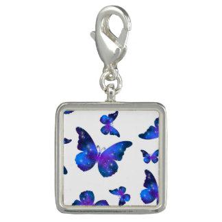 Motif bleu-foncé de cool de papillon de galaxie breloques
