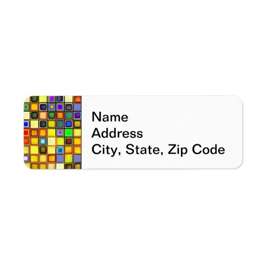 Motif bleu jaune et frais étouffant de tuiles étiquette d'adresse retour