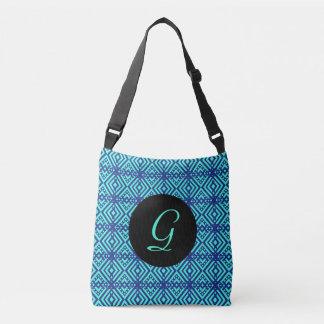 Motif bleu lumineux de diamant sac