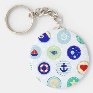 Motif bleu nautique de marin porte-clé rond