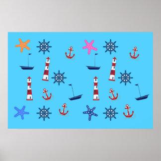 Motif bleu nautique de plage d'été poster
