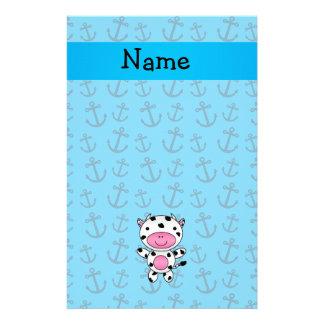 Motif bleu personnalisé d'ancres de vache nommée papier à lettre