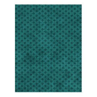 Motif bleu turquoise de formes de carré de diamant cartes postales