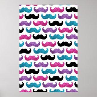 Motif bling coloré de moustache (scintillement de  posters