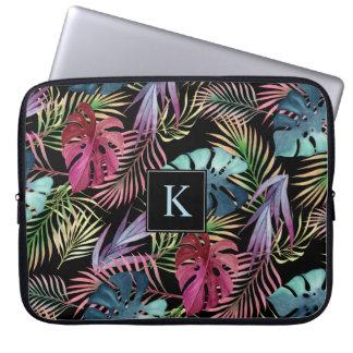 Motif botanique de feuillage tropical de jungle housse pour ordinateur portable