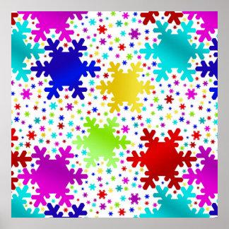 Motif brillant coloré de flocon de neige poster