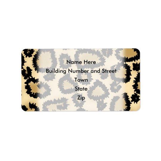 Motif, Brown et noir d'empreinte de léopard Étiquette D'adresse