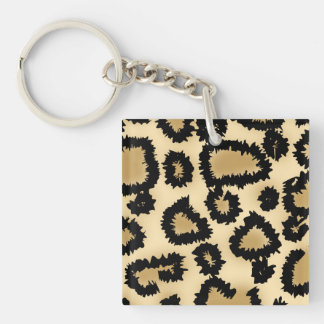 Motif, Brown et noir d'empreinte de léopard Porte-clé Carré En Acrylique Une Face