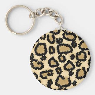 Motif, Brown et noir d'empreinte de léopard Porte-clé Rond