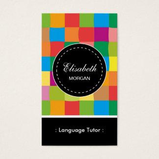 Motif carré coloré de tuteur de langue étrangère cartes de visite