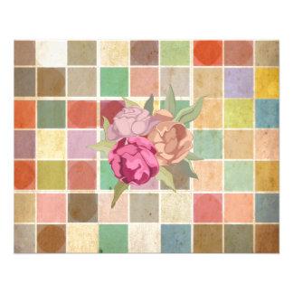 Motif carré multicolore vintage d'arrière - plan prospectus en couleur