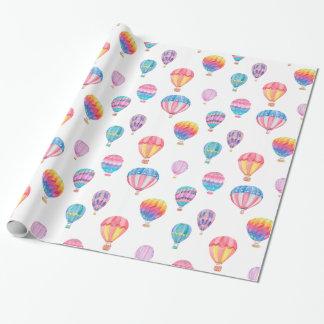Motif chaud de ballon à air papiers cadeaux