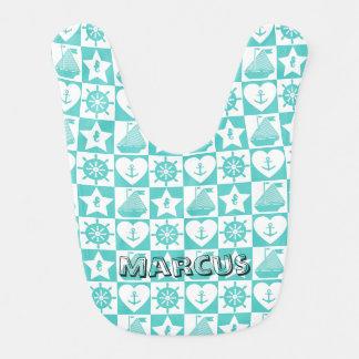 Motif checkered blanc de menthe nautique de bavoirs pour bébé