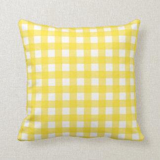 Motif Checkered de guingan jaune Coussin