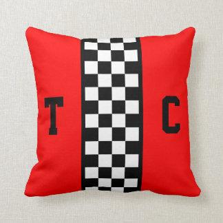 Motif Checkered de voiture de course de monogramme Oreillers