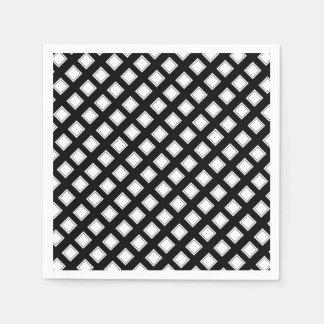 Motif Checkered noir et blanc Serviette Jetable