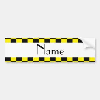 Motif checkered noir et jaune autocollant pour voiture