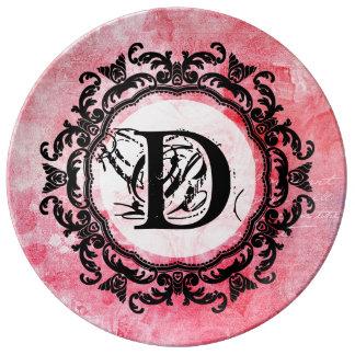 Motif chic de vieux rose rose romantique assiette en porcelaine