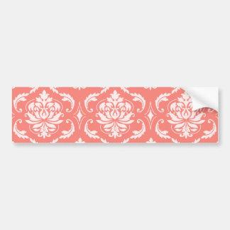 Motif classique blanc rose de corail de damassé adhésif pour voiture