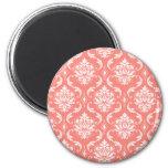 Motif classique blanc rose de corail de damassé magnets pour réfrigérateur
