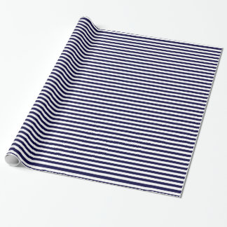 Motif classique de rayure de bleu marine et de papier cadeau noël