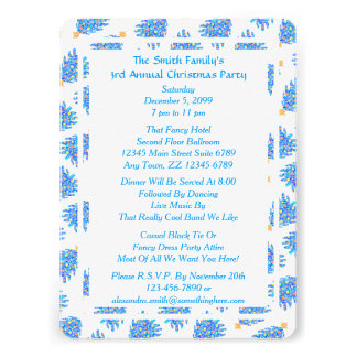 Motif coloré bleu de vacances d arbre de Noël Faire-parts