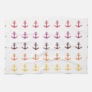 Motif coloré d'ancre serviette éponge