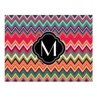 Motif coloré de Chevron avec le monogramme Carte Postale
