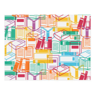 Motif coloré de classeurs de livres cartes postales