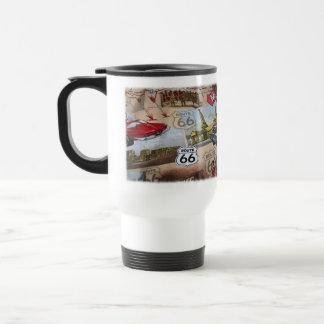 Motif coloré de collage de l'itinéraire 66 mug de voyage