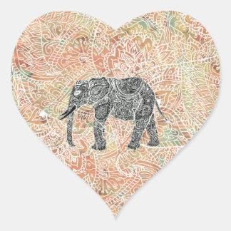 Motif coloré de henné d'éléphant tribal de Paisley Sticker Cœur