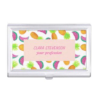 motif coloré de pastèque d'ananas d'aquarelle boîtier pour cartes de visite