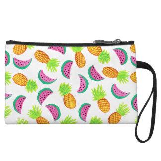 motif coloré de pastèque d'ananas d'aquarelle mini-pochette