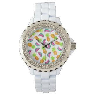 motif coloré de pastèque d'ananas d'aquarelle montres bracelet