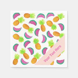 motif coloré de pastèque d'ananas d'aquarelle serviettes jetables