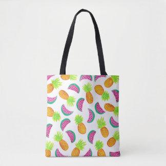 motif coloré de pastèque d'ananas d'aquarelle tote bag
