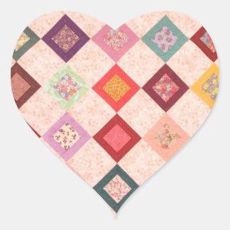 Motif coloré de tissus sticker cœur