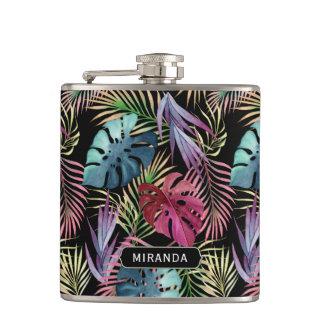 Motif coloré exotique de jungle avec le nom flasques