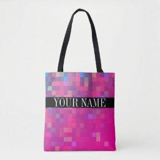 Motif coloré lumineux de carré de pixel sac