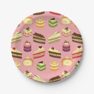 Motif coloré mignon de thé de gâteaux assiettes en papier