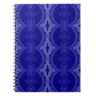 Motif complexe de bleu royal carnet à spirale
