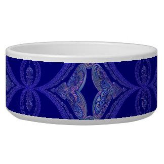 Motif complexe de bleu royal écuelles pour chien